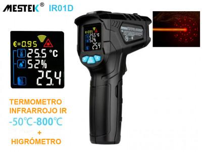 MESTEK IR01D TERMÓMETRO INFRARROJO IR SIN CONTACTO + HIGRÓMETRO DE 12 PUNTOS DE MEDICIÓN -50°C-800°C